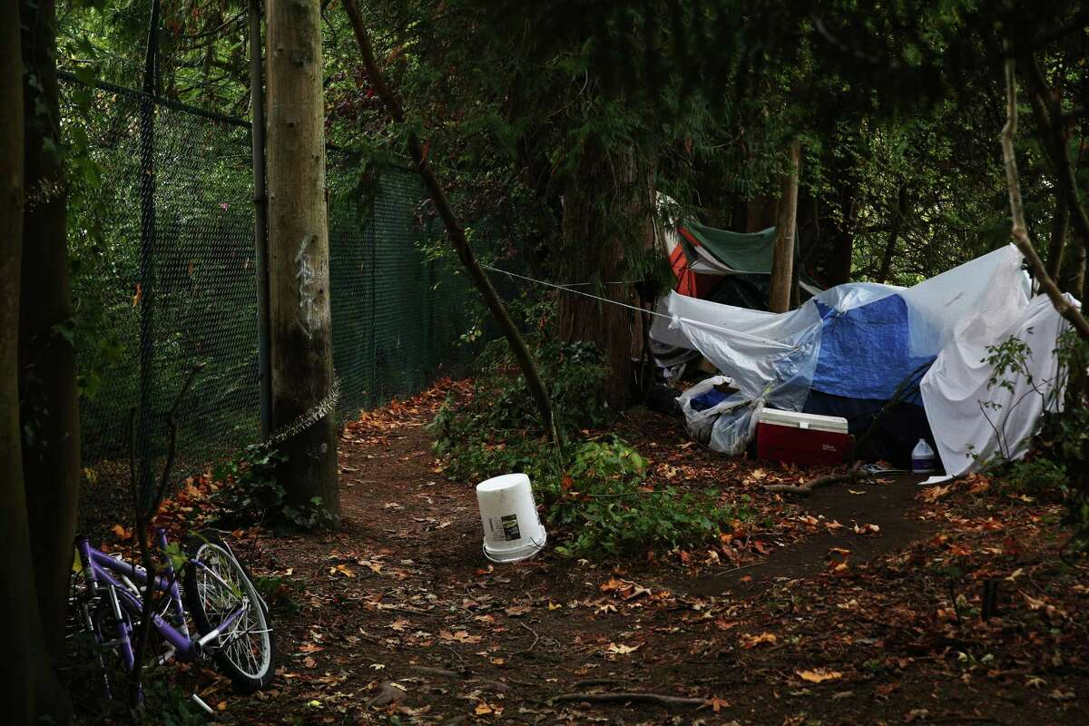 Several tents are clustered in a wooded area just outside the Carl English Jr. Botanical Gardens along NW 54th Street in Ballard. Since the