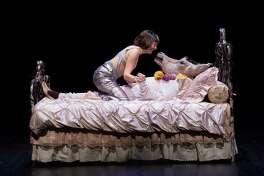 Josie de Guzman as Titaniaand James Black as Bottomin the Alley Theatre's production ofA Midsummer Night's Dream.