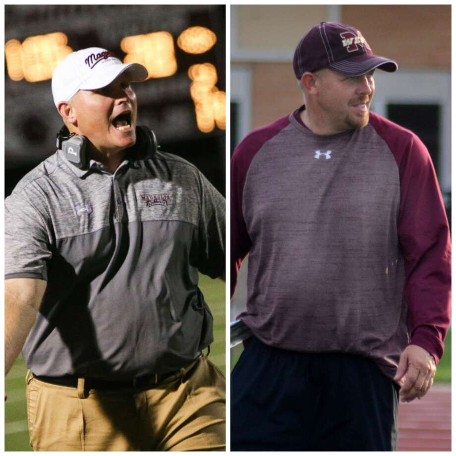 Long time coaching colleagues Sterling Doty (left) and J.D. Berna (right) will bring their teams together Friday night at Magnolia West as Berna's Mustangs host Doty's Magnolia Bulldogs. Photo: Jason Fochtman/David Hopper