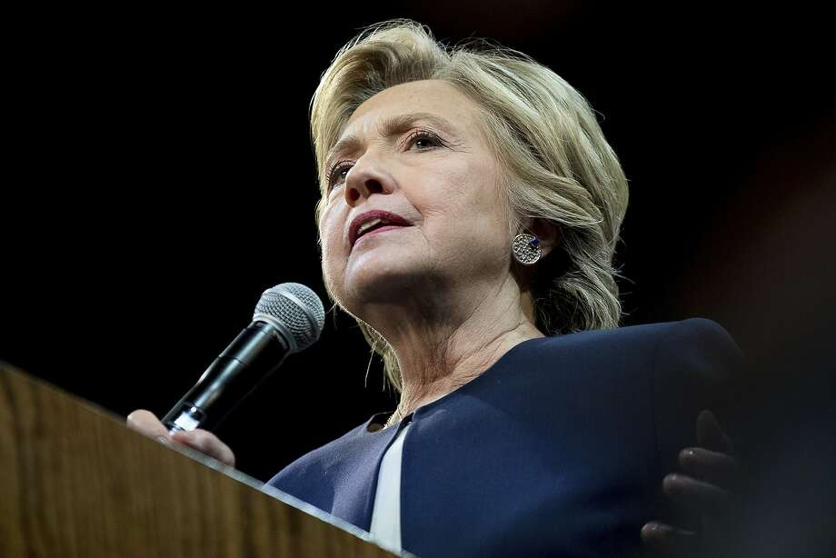 Democratic presidential candidate Hillary Clinton speaks at a fundraiser at the Civic Center Auditorium in San Francisco, Thursday, Oct. 13, 2016. (AP Photo/Andrew Harnik) Photo: Andrew Harnik, Associated Press