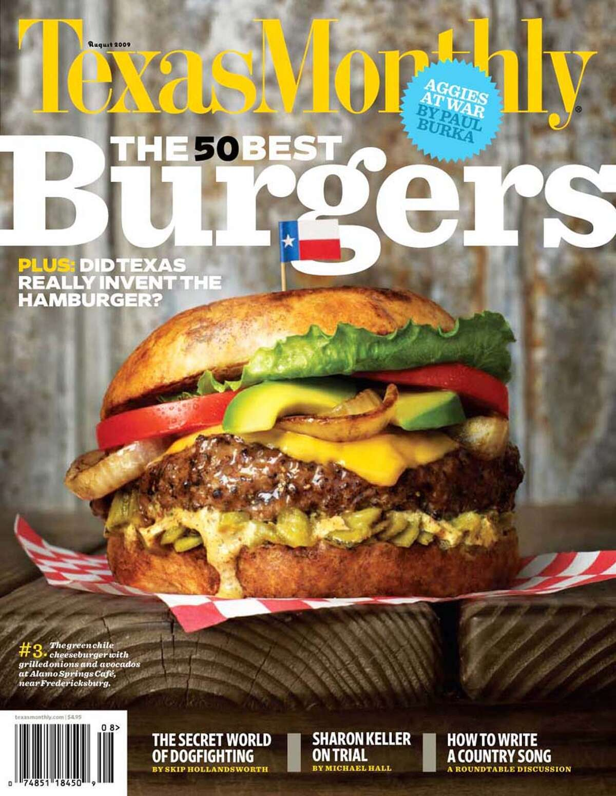 MAGAZINE COVER - Texas Monthly cover of August issue listing the 50 best burgers in Texas. Credit: Texas Monthly