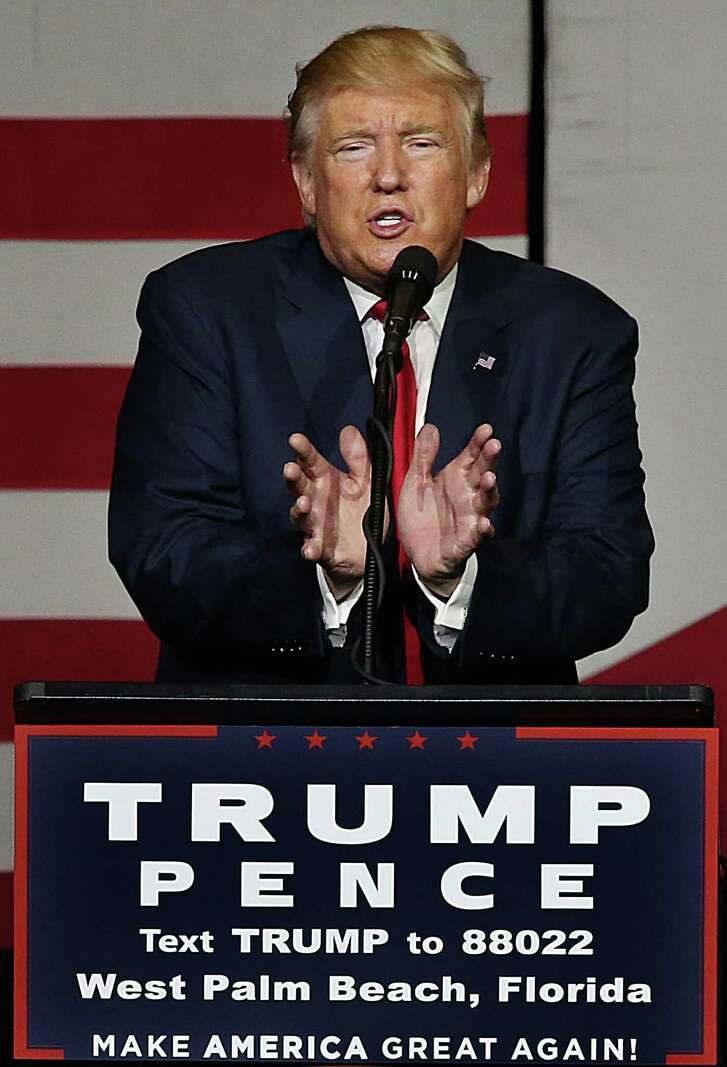 Donald J. Trump, Republican presidential candidate, speaks during a rally on Thursday, Oct. 13, 2016 at the South Florida Fair & Expo Center in West Palm Beach, Fla. (Pedro Portal/Miami Herald/TNS)