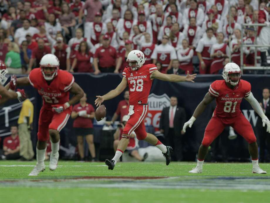 The first college football game Dane Roy attended was also his first as a player - UH's 33-23 upset of then-No. 3 Oklahoma on Sept. 3 at NRG Stadium. Photo: Elizabeth Conley, Staff / © 2016 Houston Chronicle