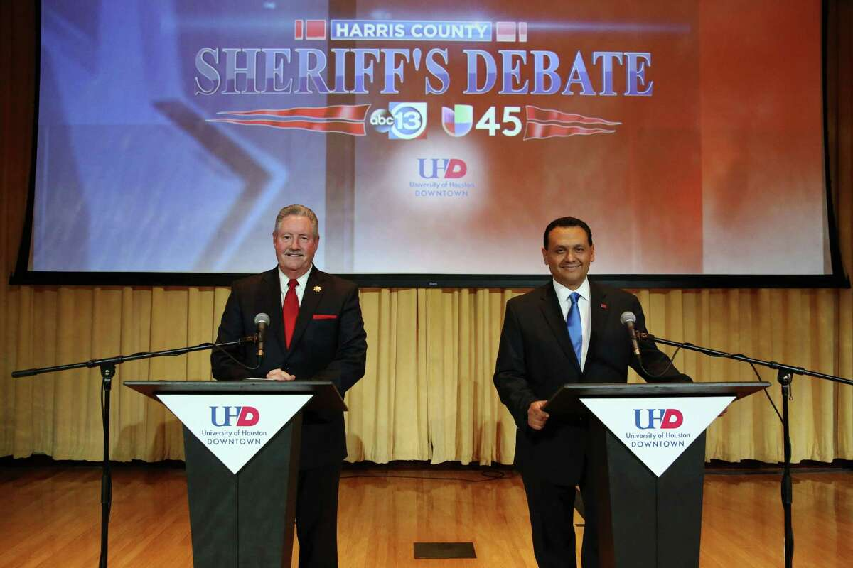 Harris County Sheriff Ron Hickman, left, and his opponent, Ed Gonzalez, faced off at a debate Thursday night at the University of Houston-Downtown.