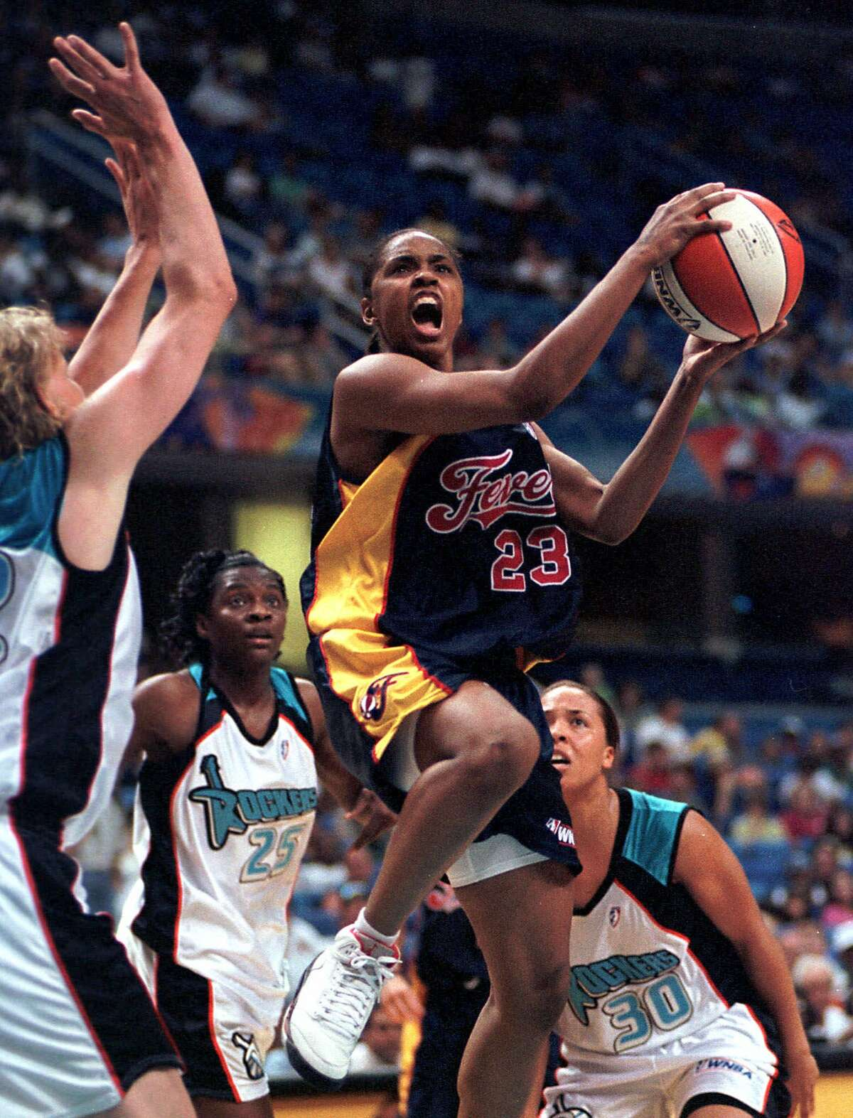 Indiana Fever's Rita Williams goes up for a shot in 2000.