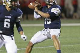 Panther quarterback Roel Sanchez finds another long route receiver in the first half as O'Connor plays Stevens at Farris Stadium on October 13, 2016.