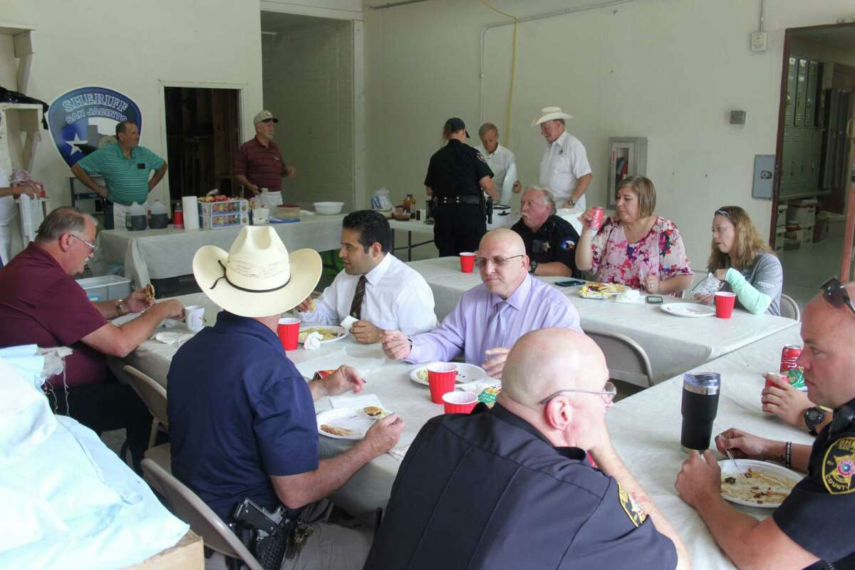 Law enforcement officers from all over San Jacinto County gather at the sheriffÂ?'s office on Oct. 11 for lunch provided by the Mt. Moriah and Shepherd Masonic Lodges in appreciation for their hard work.