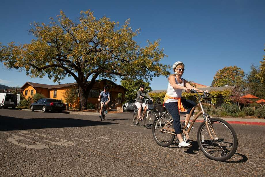 Cyclists begin their self- guided bike tour of Napa Valley from Velo Vino. Photo: Peter DaSilva, Special To The Chronicle