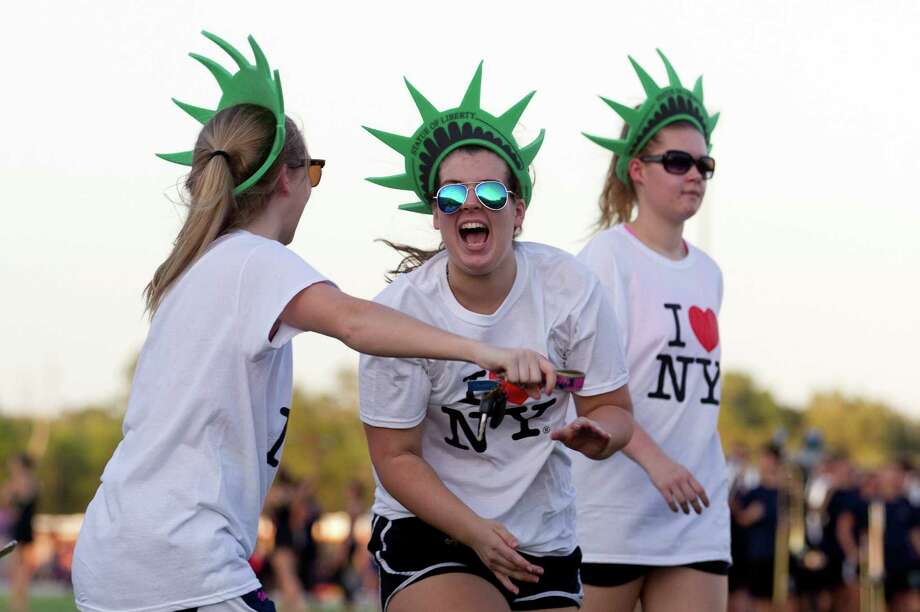 College Park volleyball player Emily Claire Ross jokes around during the school's homecoming parade at Woodforest Bank Stadium Wednesday, Oct. 12, 2016, in Shenandoah. Photo: Jason Fochtman, Houston Chronicle / Houston Chronicle