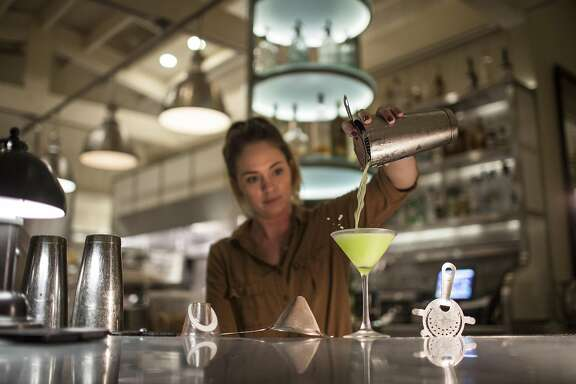 Bartender Breana Hooten mixing cocktails at Archetype restaurant in St. Helena, California, USA 12 Oct 2016. (Peter DaSilva/Special to The Chronicle)