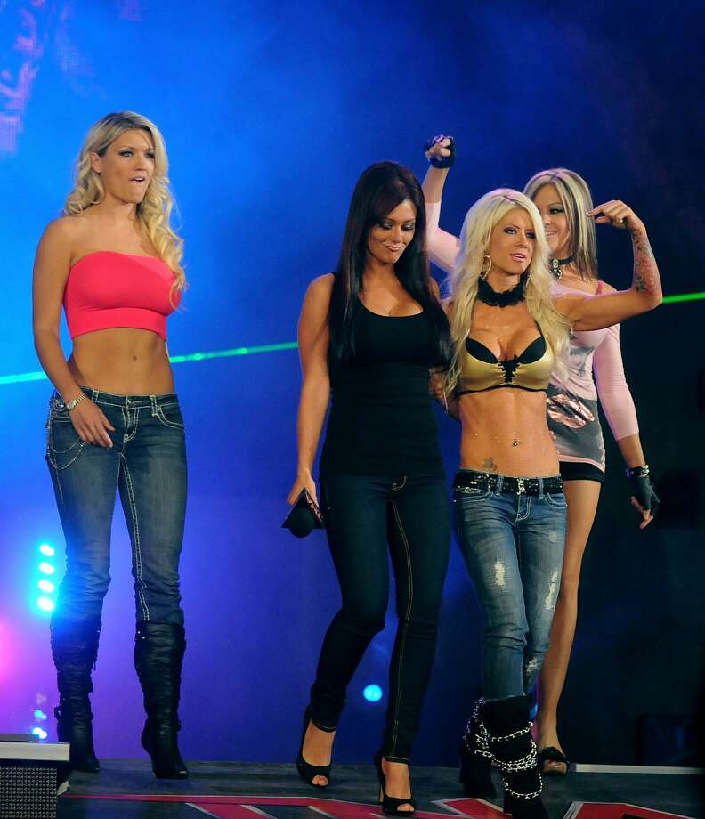 "ORLANDO, FL - OCTOBER 11:  Jenni ""J Wow"" Farley (2nd from Left) during her appearances on Total Nonstop Action (TNA) Wrestling's  ""iMPACT Zone""on October 11, 2010 in Orlando, Florida.  (Photo by Gerardo Mora/Getty Images) Photo: Gerardo Mora/Getty Images"
