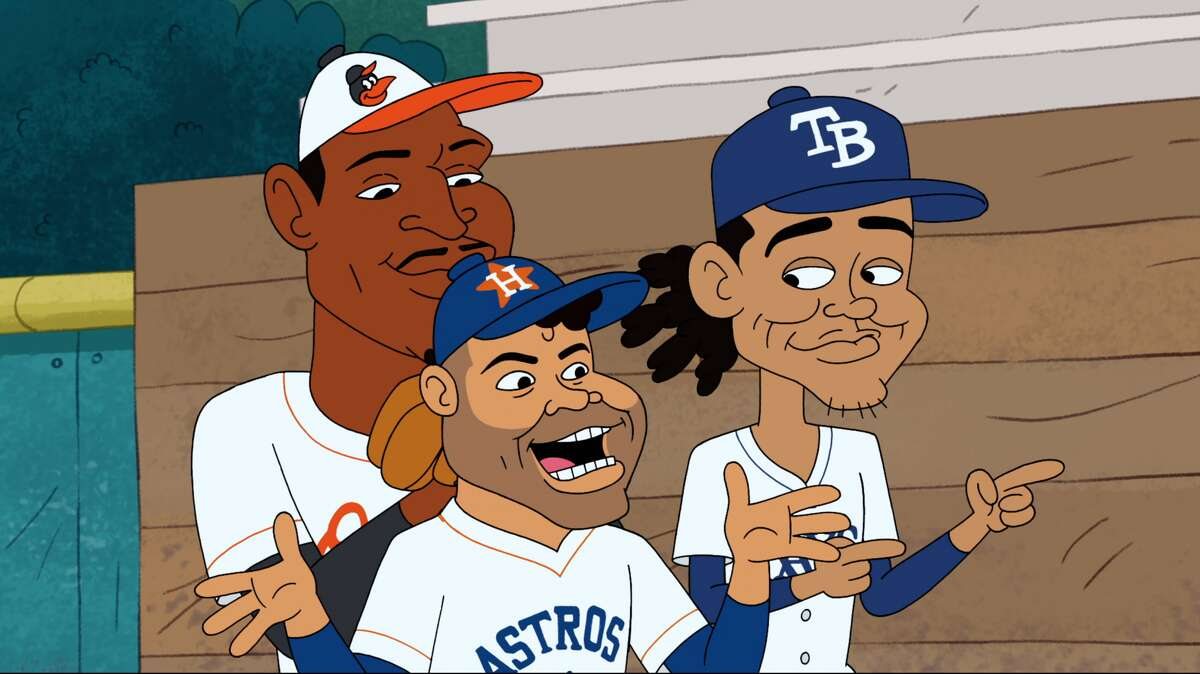 The Astros' Jose Altuve, center, is joined by Baltimore's Adam Jones, left and Tampa Bay's Chris Archer on the Oct. 22 episode of Cartoon Network's