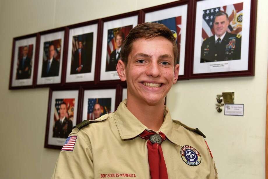Matthew Pickett stands in an Army Junior Reserve Officer Training Corps (JROTC) classroom at Albany High School on Thursday, Sept. 29, 2016 in Albany, N.Y. Pickett, a Boy Scout trying for his Eagle Scout Award and a senior at Albany High, is organizing a veteran's fair, which will provide info about services available to local vets. (Lori Van Buren / Times Union) Photo: Lori Van Buren / 40038194A