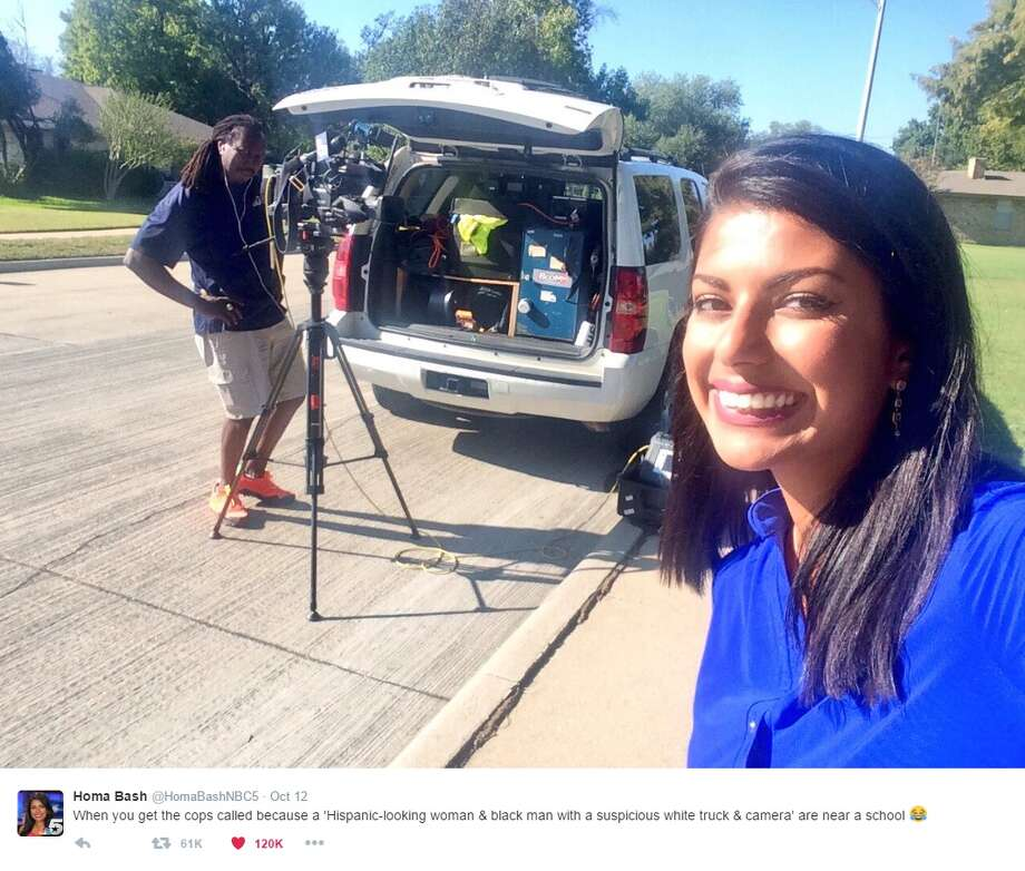 "@HomaBashNBC5: ""When you get the cops called because a 'Hispanic-looking woman & black man with a suspicious white truck & camera' are near a school"" Photo: Courtesy/Twitter"
