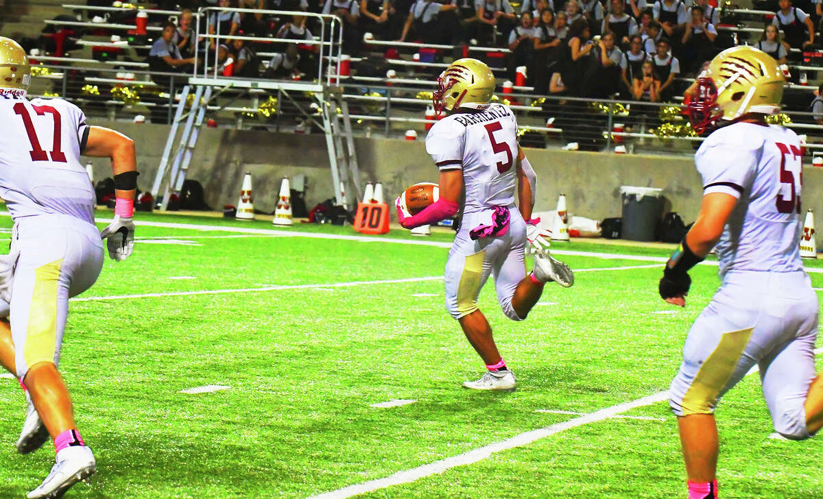 Cy Woods junior running back/wide receiver Jack Barrientez has been a swiss-army-knife type of player on offense for head coach Trent Faith's Wildcats all season. With senior rusher C.J. Jones out of the lineup due to injury Thursday, Barrientez accrued 125 yards and a touchdown rushing, also catching six passes for 42 yards and another two touchdowns.