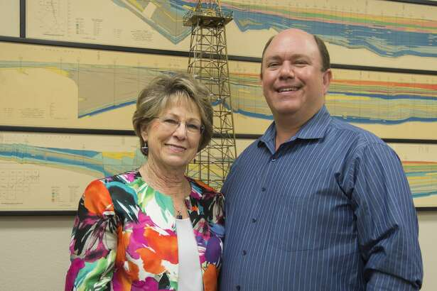 West Texas Geological Society executive director Paula Mitchell-Sanchez and president Jeff Bryden. Wednesday 09-14-16 Tim Fischer/Reporter-Telegram