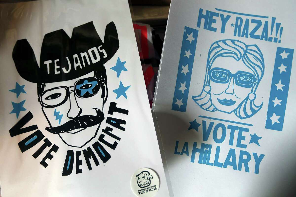 Some of Ortiz's designs supporting the Democratic Party.