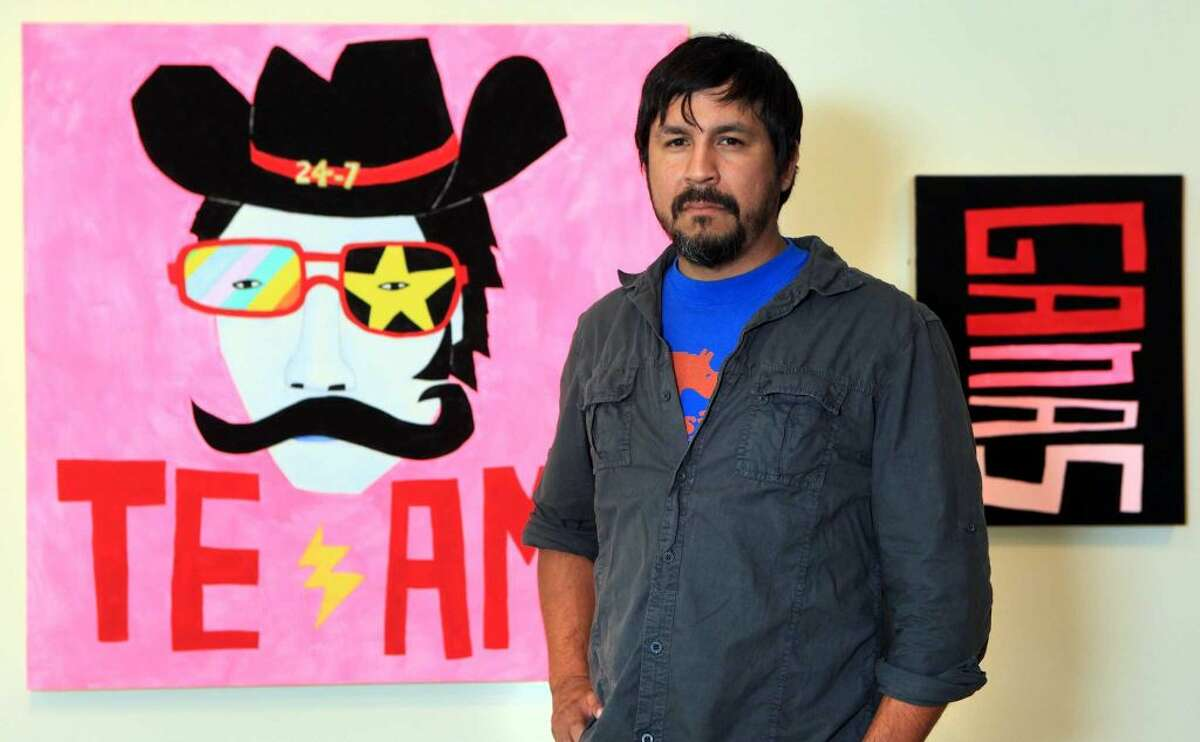 Cruz Ortiz is a  San Antonio-based visual artist who has exhibited his work in galleries and museums including Artpace, the Contemporary Arts Museum Houston and the Los Angeles County Museum of Art. He also runs Snake Hawk Press, a boutique design firm located on the South Side, which has produced bottle art for Absolut Vodka and a special edition San Antonio Spurs pizza box for Papa John's. Click through the slideshow for a look at his work.