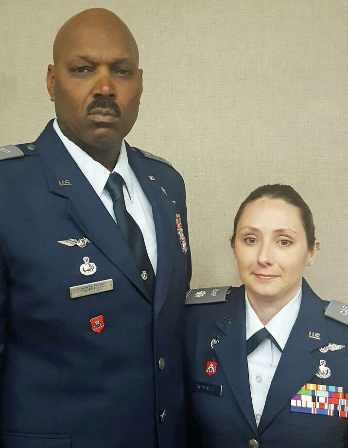 Major Kenneth Fortes and Lt. Col. Brownell, Western Connecticut Group Commander. On Sept. 29, 2016. Fortes assumed command of the Civil Air Patrol's Stratford Eagles Composite Squadron. Fortes is the first African-American to serve as commander of a Connecticut Wing squadron. Fortes is a veteran of the U.S. Marine Corps and is a detective with the Bridgeport Police Department. Photo: 2nd Lt. Katelyn Moore /Civil Air Patrol
