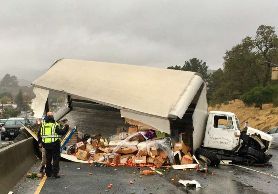 A delivery truck carrying produce crashed Friday morning as it went north on Highway 101 in San Rafael. Photo: San Rafael Fire Department