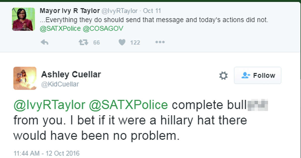 """Tweet:""""@IvyRTaylor @SATXPolice complete bullshit from you. I bet if it were a hillary hat there would have been no problem."""""""