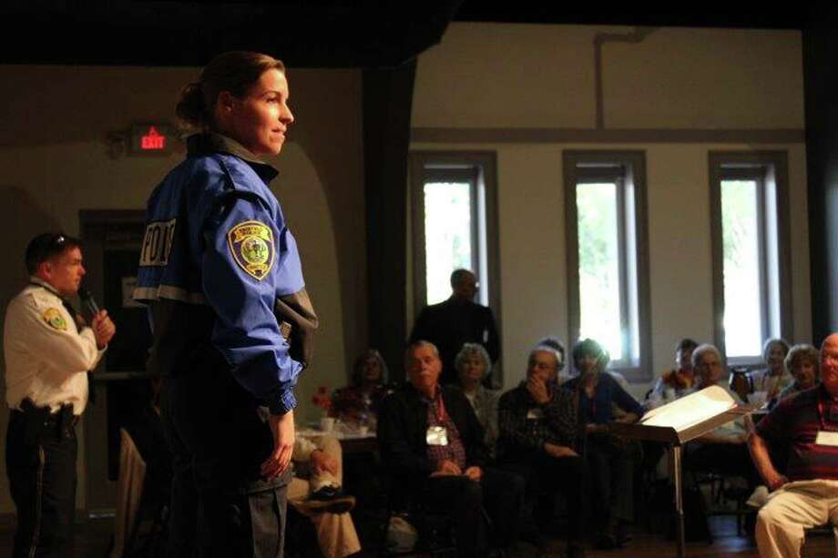Detective Lisa Burbige models the uniform a member of the bike patrol would wear at the Oct. 7 fashion show at Black Rock Congregational Church. Fairfield, CT. 10/12/16 Photo: Genevieve Reilly / Hearst Connecticut Media