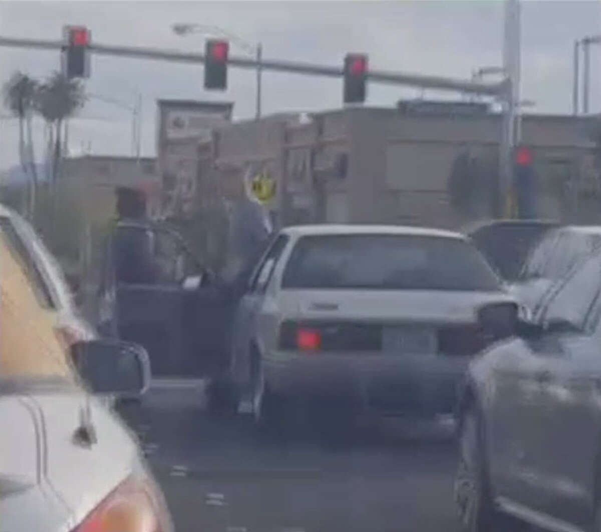 Two drivers in Las Vegas, Nevada get into an vicious road rage fight Monday, Oct. 10, 2016. The incident was captured on cellphone video.