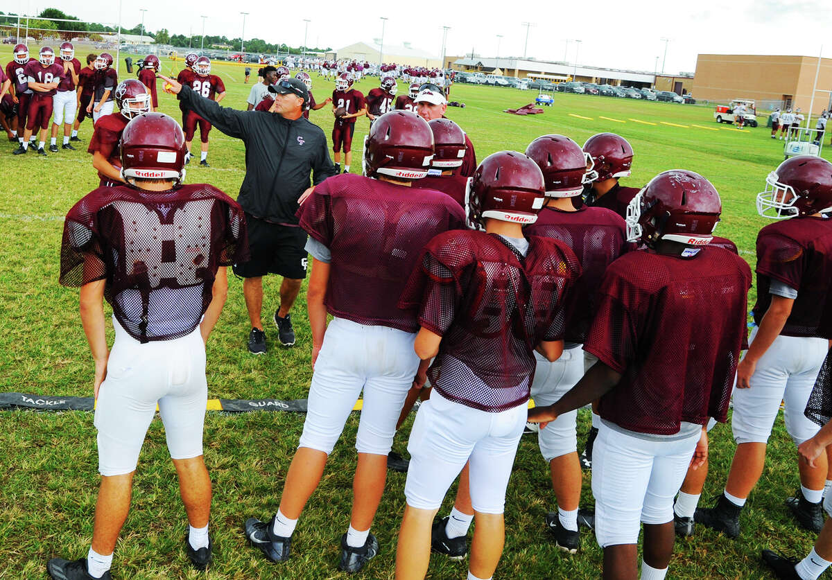 Cy-Fair's defense, led by defensive coordinator Robbie Legg, prepares for Cypress Creek earlier this week at practice. Cy-Fair has led 17-6A in nearly every defensive category all season, including opponent's passing yardage, but the