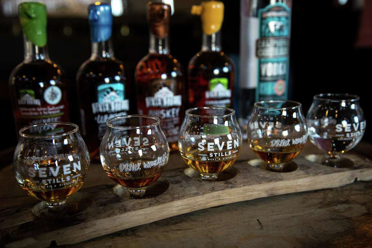 Seven Stills Brewery and Distillery in the Bayview neighborhood of S.F. offers a whiskey flight in a fun setting.