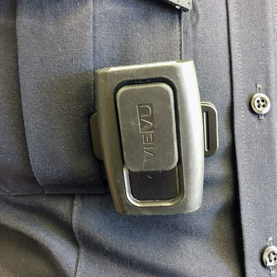 Officers in Westport, CT wear body cameras like this. Officers in the Darien Police Department will have body cameras by the beginning of 2017. Photo: Erin Kayata / Hearst Connecticut Media / Darien News