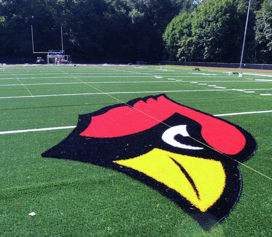 The Greenwich High School Cardinal logo can be seen in the center of the field at the high school's Cardinal Stadium, Conn Photo: Bob Luckey Jr. / Hearst Connecticut Media / Greenwich Time