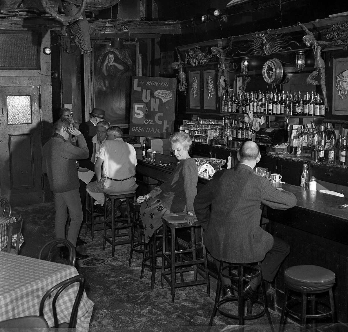 Black Cat bar on Montgomery in San Francisco. Raided and closed by San Francisco Police Department. Chronicle negatives .. photographer unidentified