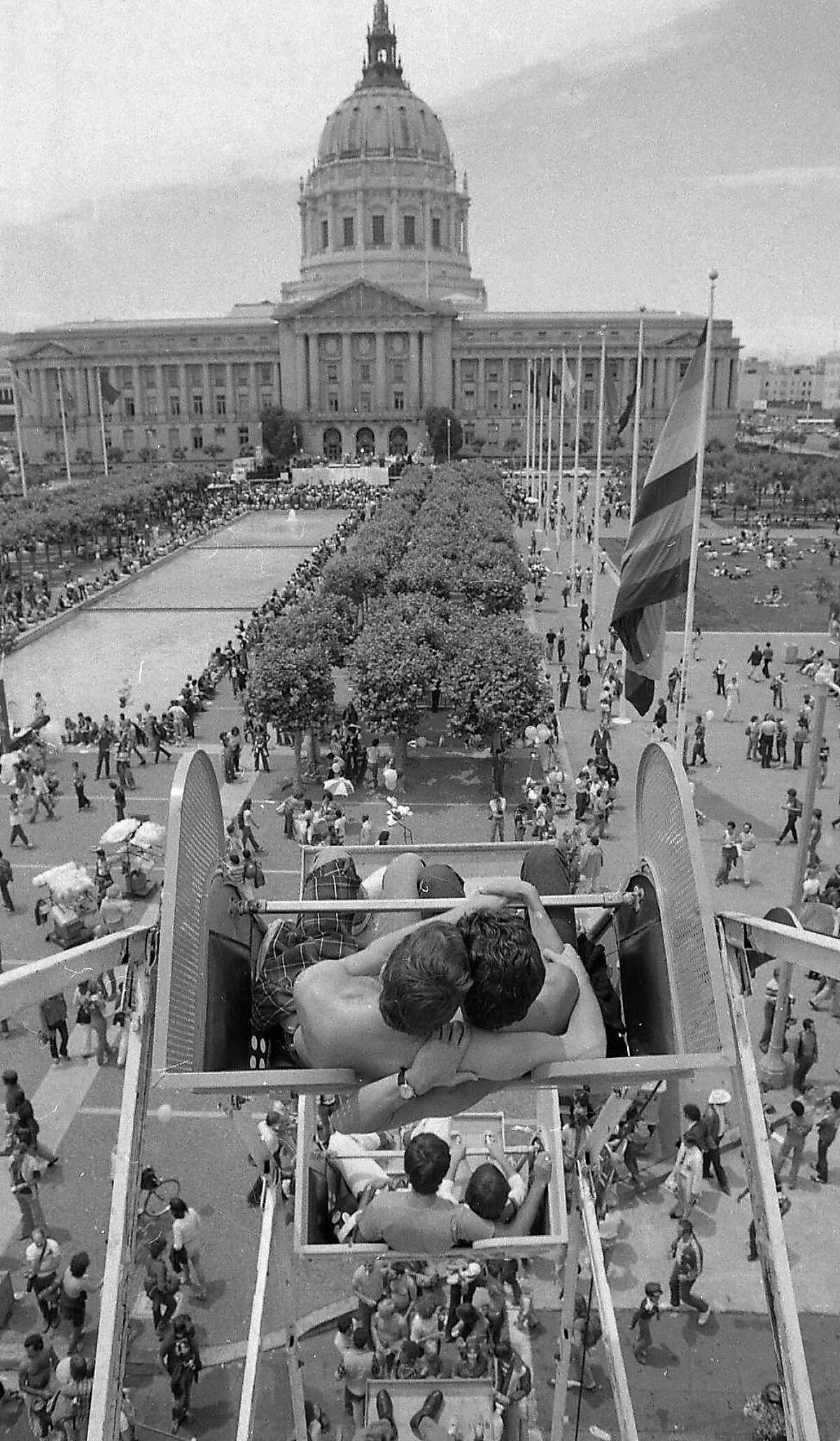 June 29, 1980: A carnival atmosphere came to City Hall for the Gay Freedom Day parade.
