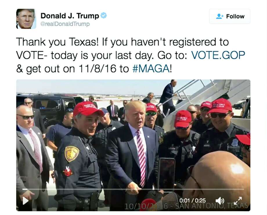 Republican presidential candidate Donald J. Trump poses with several San Antonio Police Department officers at San Antonio International Airport as he prepares to depart the city following a fundraiser at the downtown Grand Hyatt Regeency. Photo: Twitter, Twitter