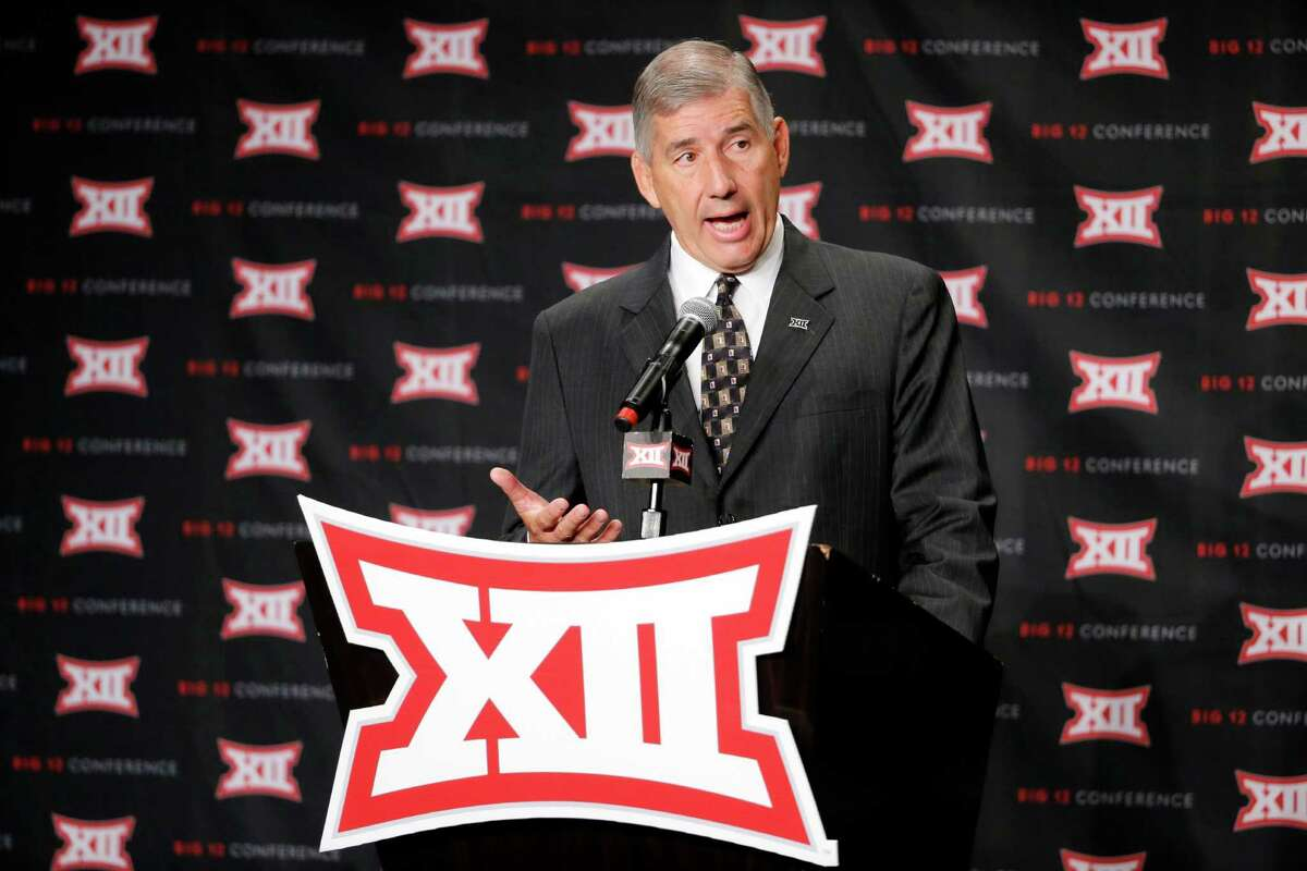 FILE - In this July 18, 2016, file photo, Big 12 commissioner Bob Bowlsby addresses attendees during Big 12 media day in Dallas. The Big 12 board of directors meets Monday, Oct. 17, 2016, in Dallas and the topic of expansion will be addressed. Not necessarily decided, but definitely addressed. (AP Photo/Tony Gutierrez, File)