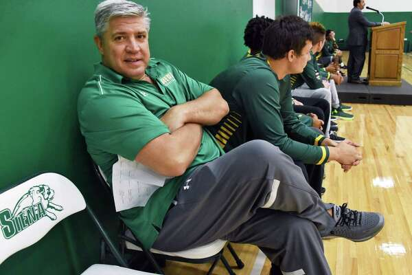 Head Coach Jimmy Patsos during Siena men's basketball Media Day news conference Friday Oct. 14, 2016 in Colonie, NY.  (John Carl D'Annibale / Times Union)