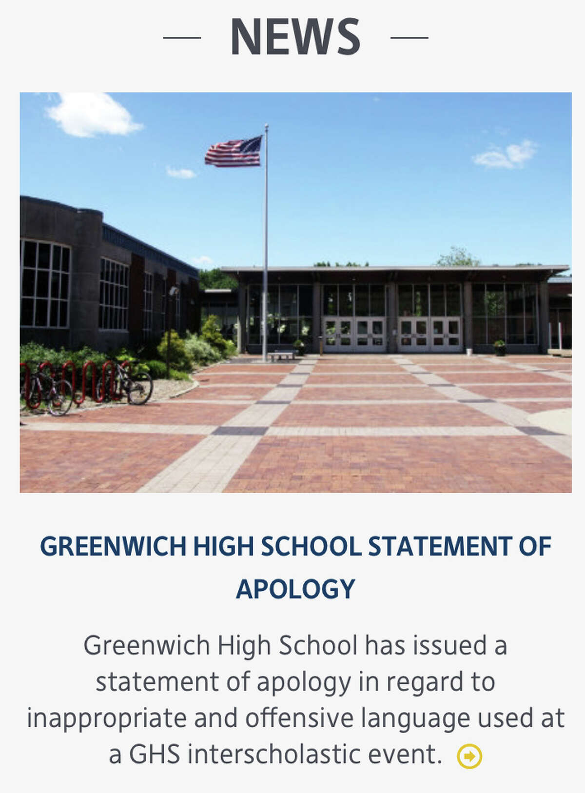 Greenwich Public Schools posted a letter of apology from Headmaster Chris Winters on the district website to both the Greenwich and Trumbull communities for an offensive play call.