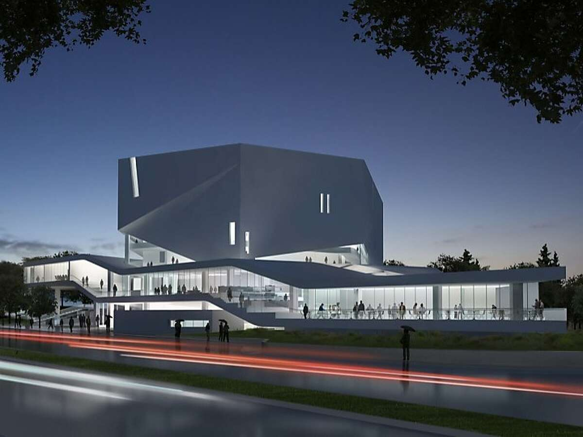 The Mashouf Performing Arts Center at San Francisco State University would include a 1,200 seat theater and glassed-in space for a student cafe and computer lab.