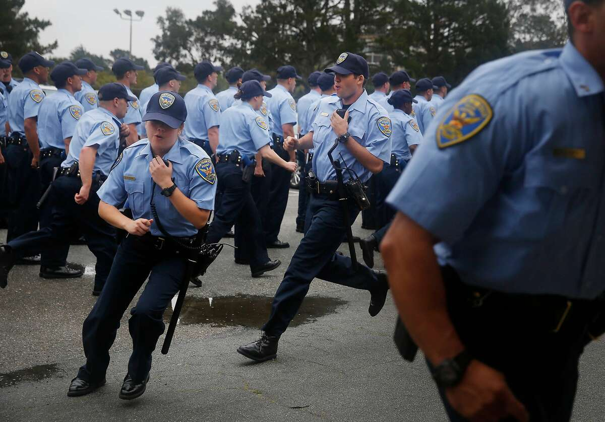 San Francisco Police recruits from the the 246th recruit class during exercises in 2015. Author Jason Johnson argues that California's new use-of-force bill will harm public safety and that better officer guidance and training will reduce shootings instead.