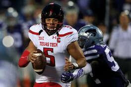 Texas Tech quarterback Patrick Mahomes II (5) during the first half of an NCAA college football game against Kansas State in Manhattan, Kan., Saturday, Oct. 8, 2016. (AP Photo/Orlin Wagner)