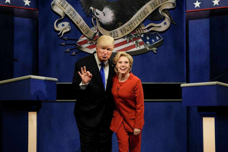 Alec Baldwin and Kate McKinnon portray presidential candidates Donald Trump and Hillary Clinton, respectively, in a Saturday Night Live skit. As funny as the pair may have been, the real campaign is a joke in itself, according to a reader. Photo: Will Heath /Associated Press / 2016 NBCUniversal Media, LLC