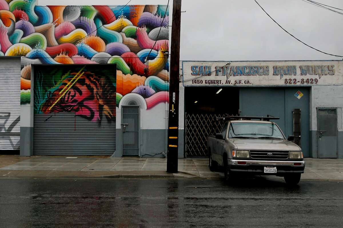 Artist Ricky Watts' mural is seen on Egbert Ave in the Bayview neighborhood on Friday, Oct. 14, 2016 in San Francisco , Calif. The Bayview arts organization Imprint.City will be adding 9 new murals on Egbert Ave in the weeks leading up to Bayview Live festival.