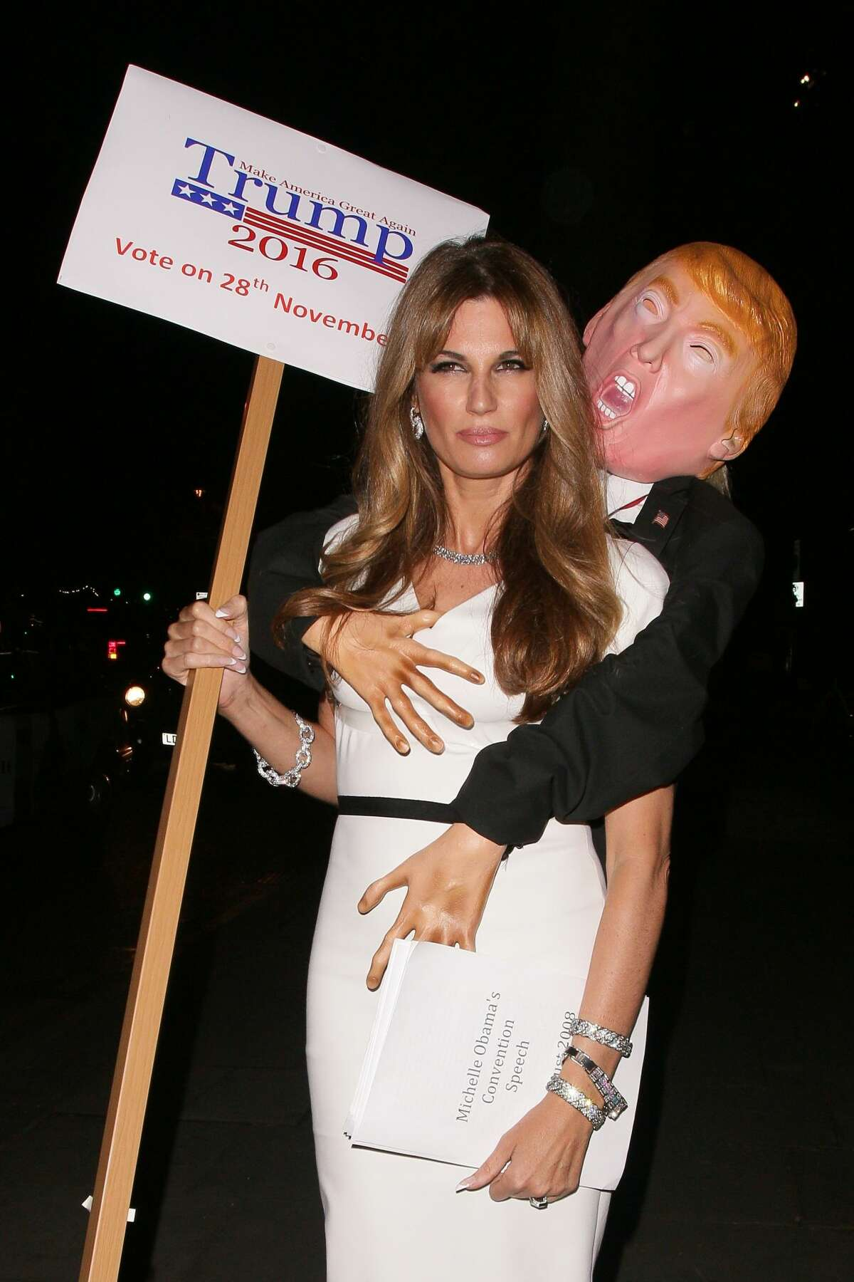 Jemima Goldsmith arriving the UNICEF Halloween Ball on October 13, 2016 in London, came as a Trump victim. (Photo by Mark Robert Milan/GC Images)