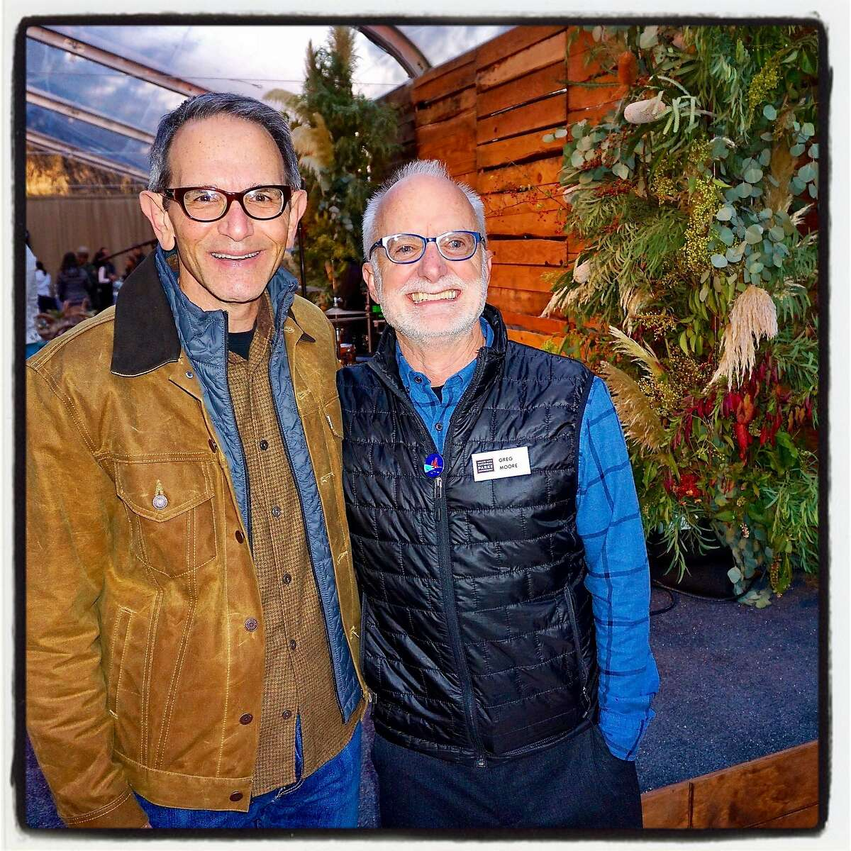 Haas Foundation President Ira Hirschfield (left) with GGNPC Director Greg Moore at the Trails Forever dinner. Sept 2016.
