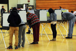 Election Day voting at Central High School, in Bridgeport in 2015.