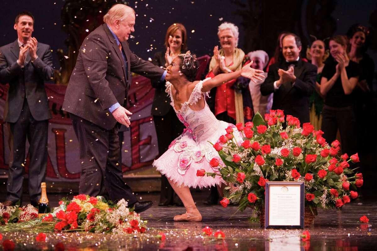 Lauren Anderson shows love to her mentor, former artistic director Ben Stevenson, after her final Houston Ballet performance in 2006.
