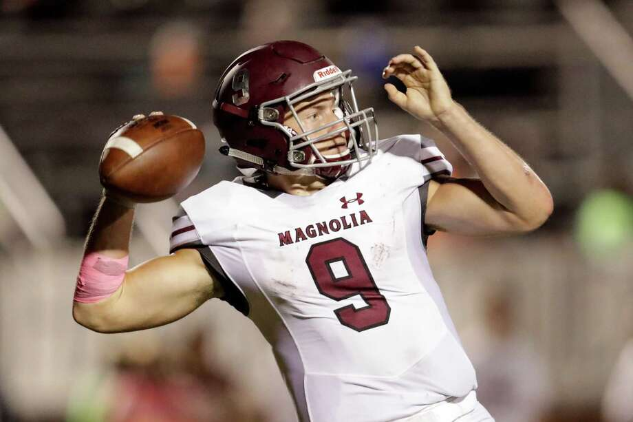 Jacob Frazier, quarterback, MagnoliaFrazier tied a state record with 10 touchdown passes in a 75-54 win over Tomball on Sept. 30. He didn't just throw touchdowns though. He completed 39 of 48 passes for 665 yards in the win. Photo: Tim Warner, For The Chronicle / Houston Chronicle