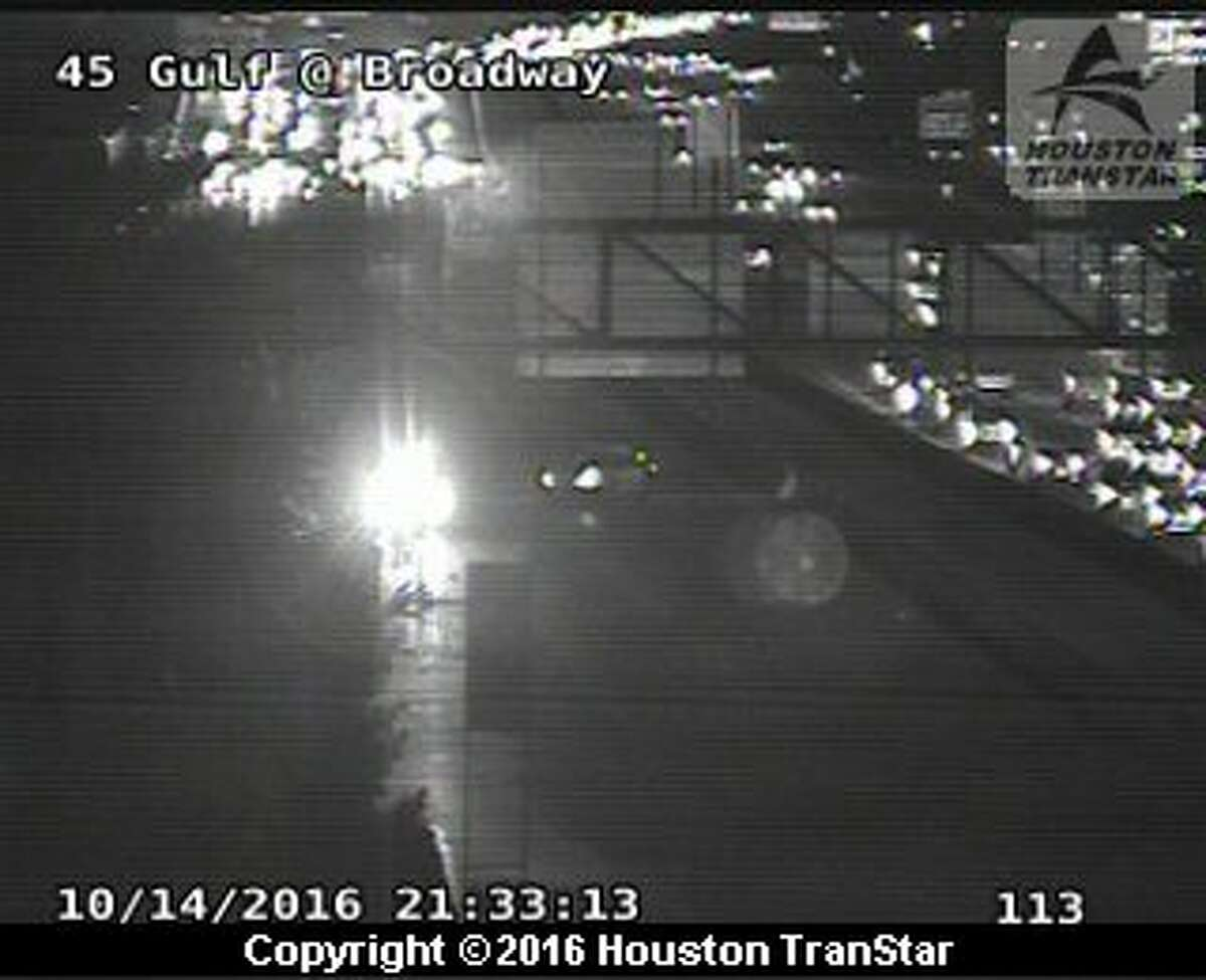 After a crash Friday night, traffic was stalled on the Gulf Freeway northbound before Broadway/Park Place.