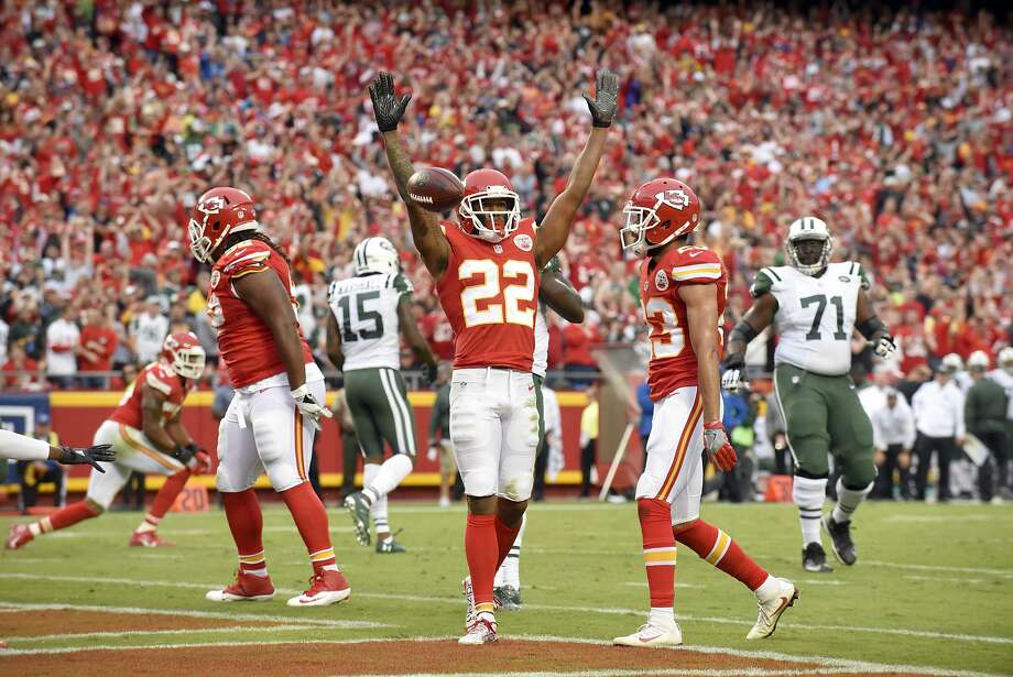 Chiefs cornerback Marcus Peters (22) has a league-high 12 interceptions over his first 21 games. Photo: Ed Zurga, Associated Press