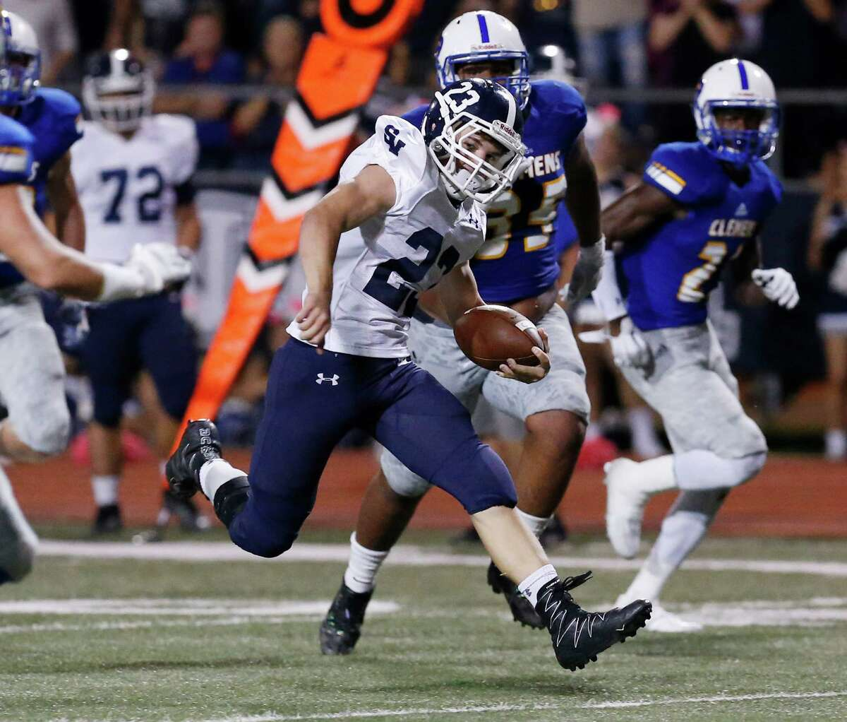 Smithson Valley's Indiana Hawes (23) looks for room to run against Clemens during their game at Lehnhoff Stadium on Friday, Oct. 14, 2016.